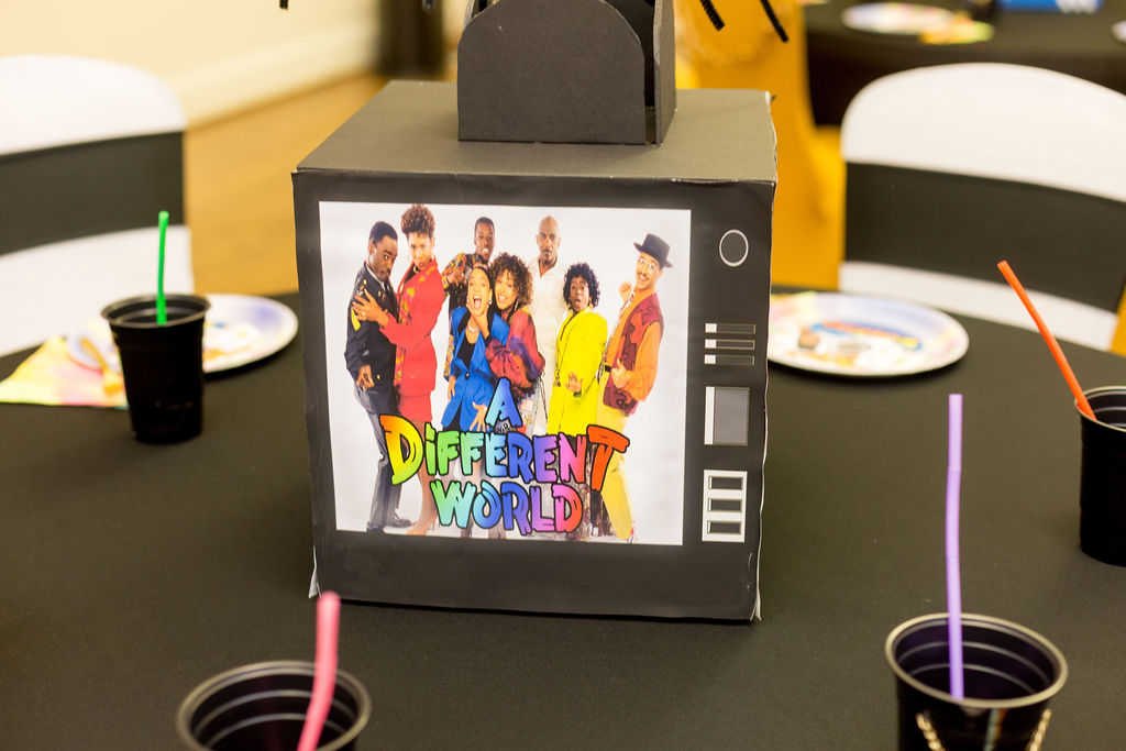 A Different World table centerpiece for 90s themed party
