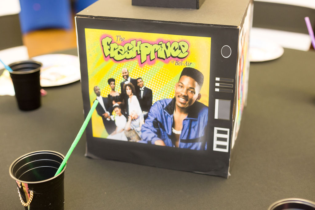 Fresh Prince of Bel Air table centerpiece for 90s themed party
