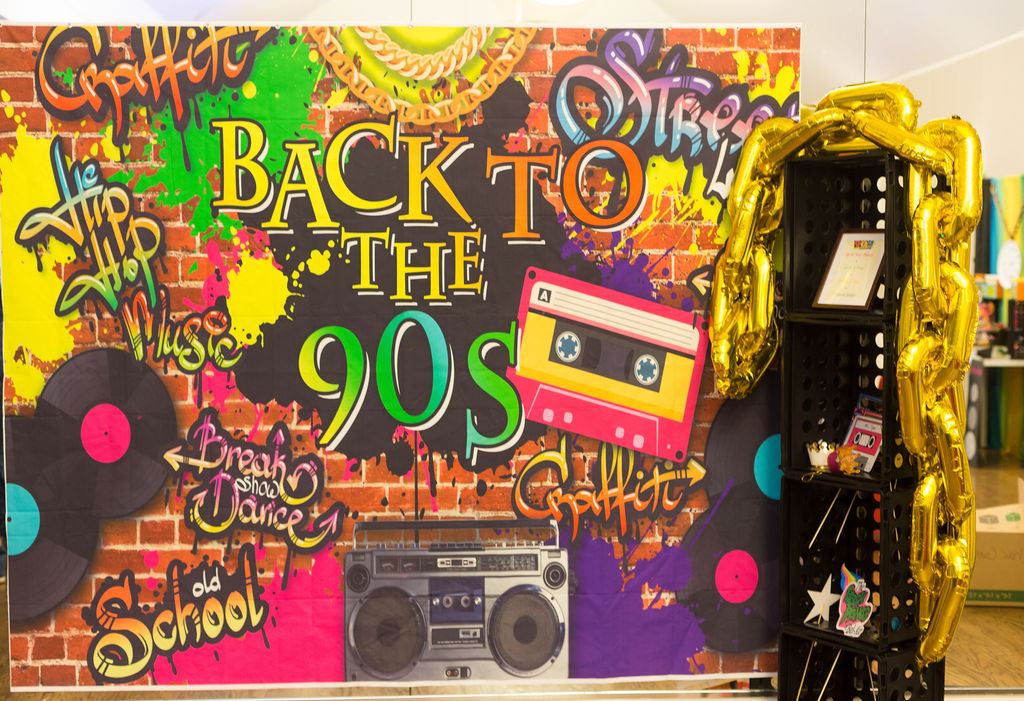 90s party graffiti backdrop