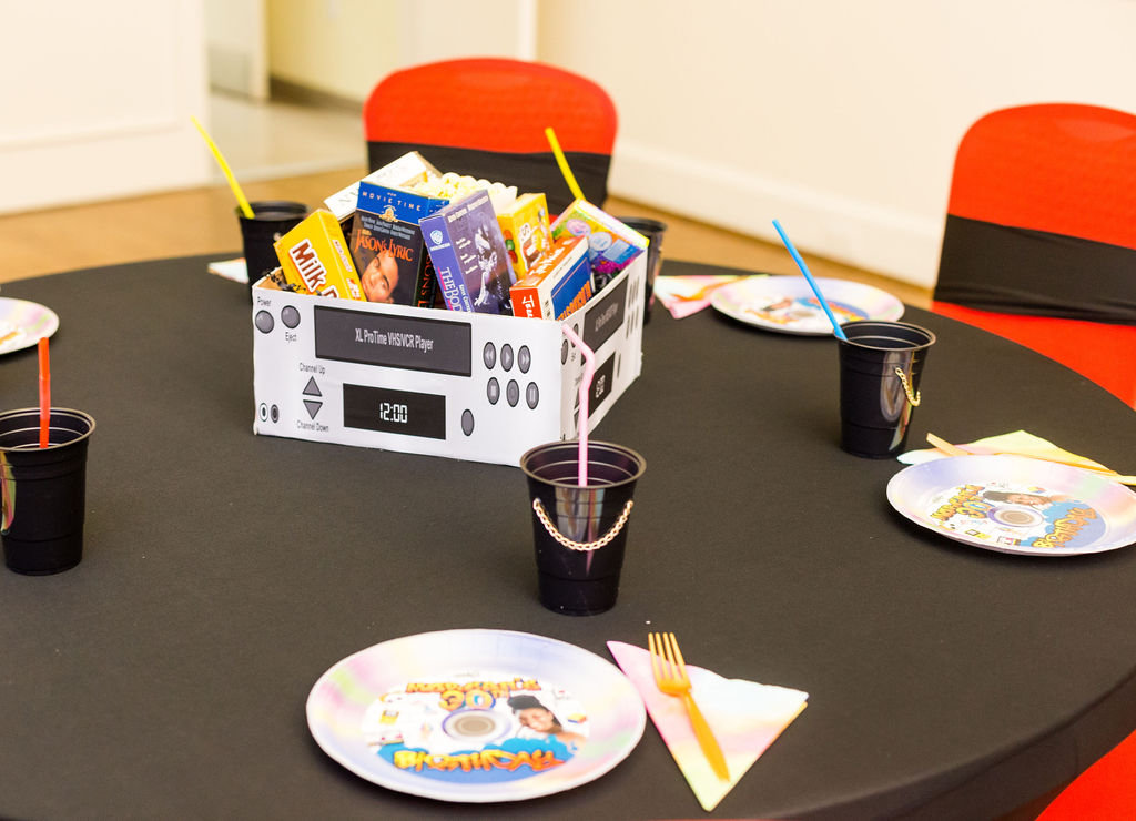 Movie themed 90s party centerpiece