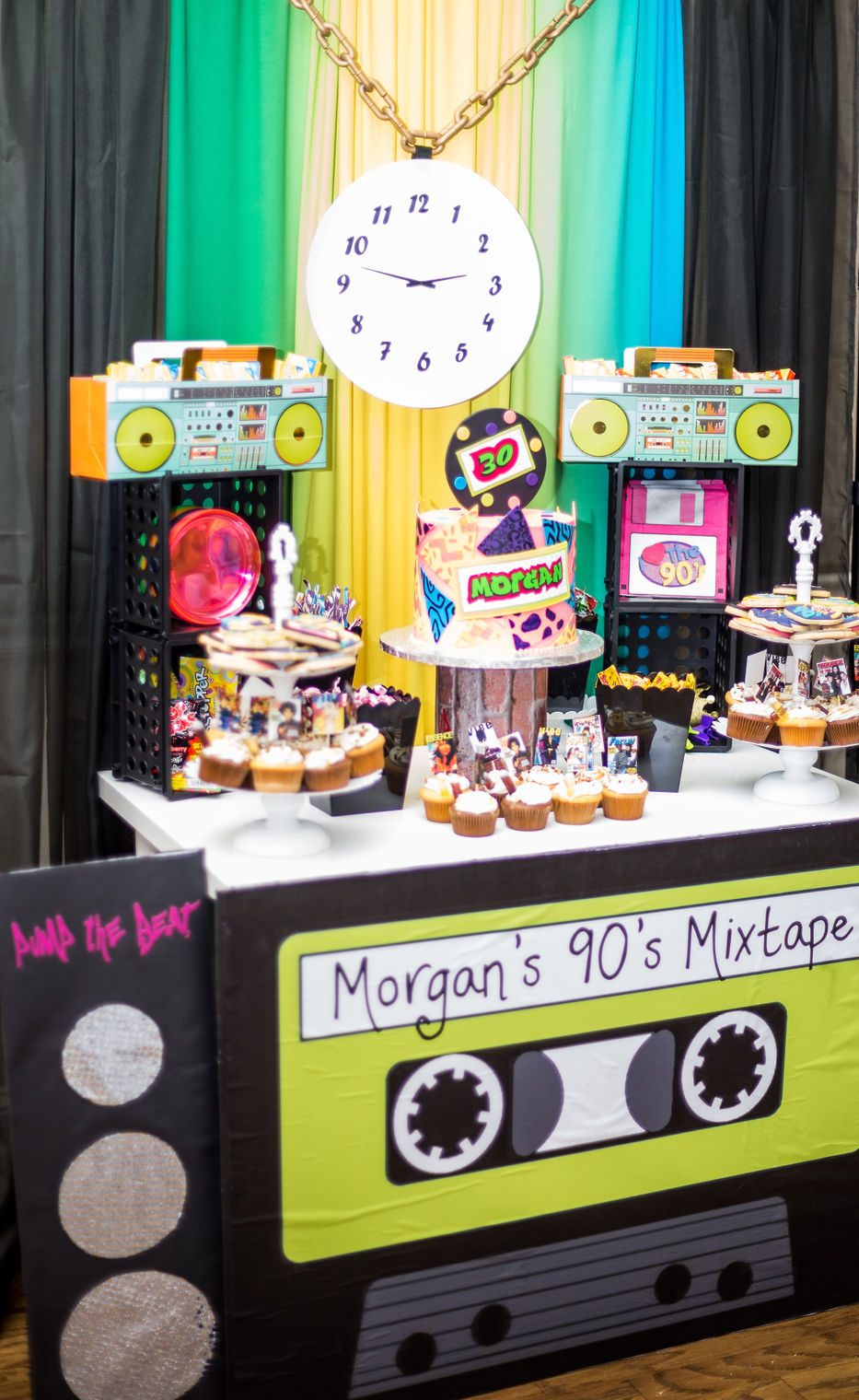 90s party dessert table