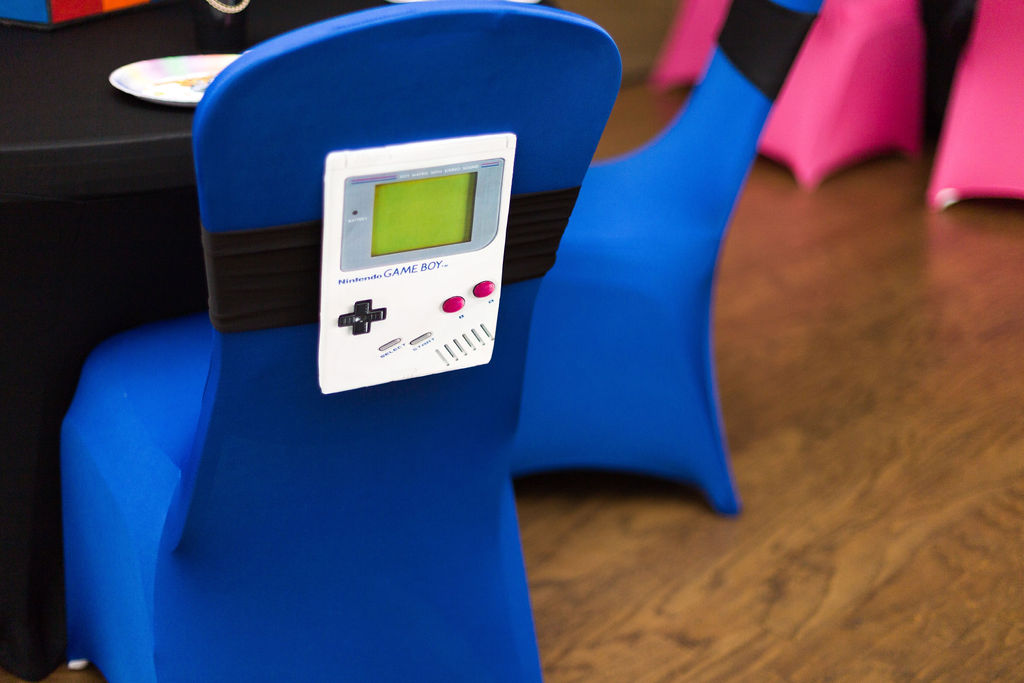 90s party gameboy chair decorations