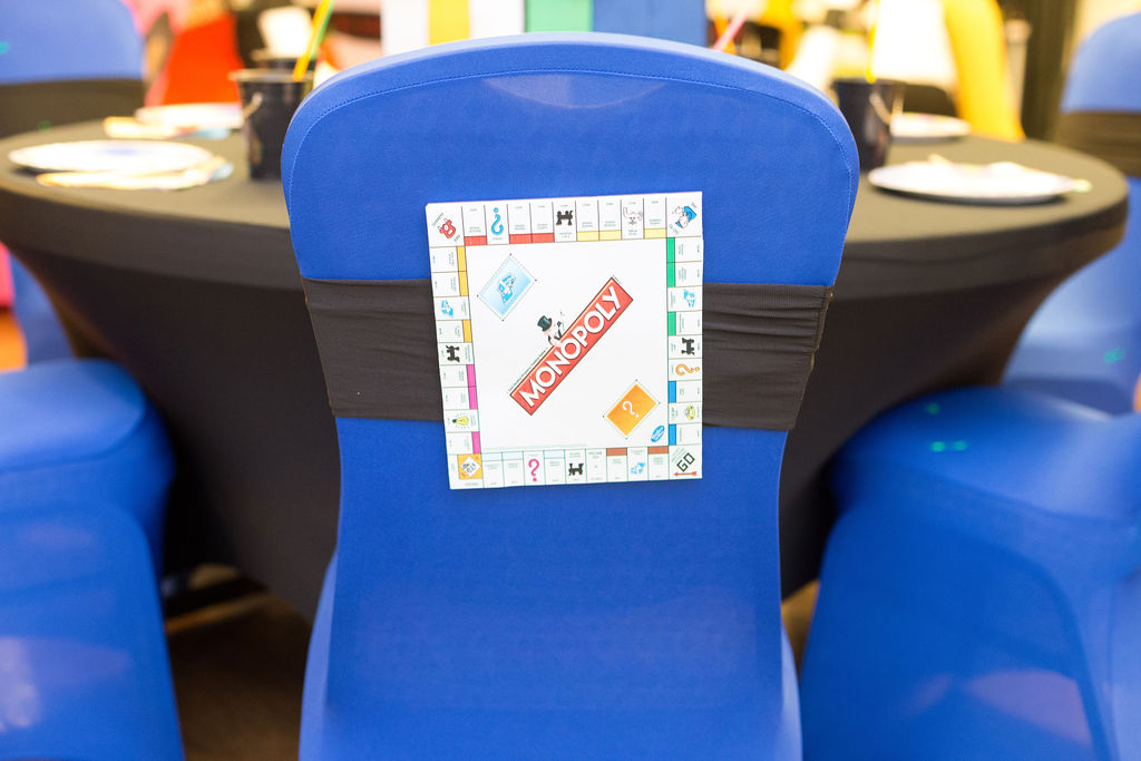 90s party monopoly chair decorations