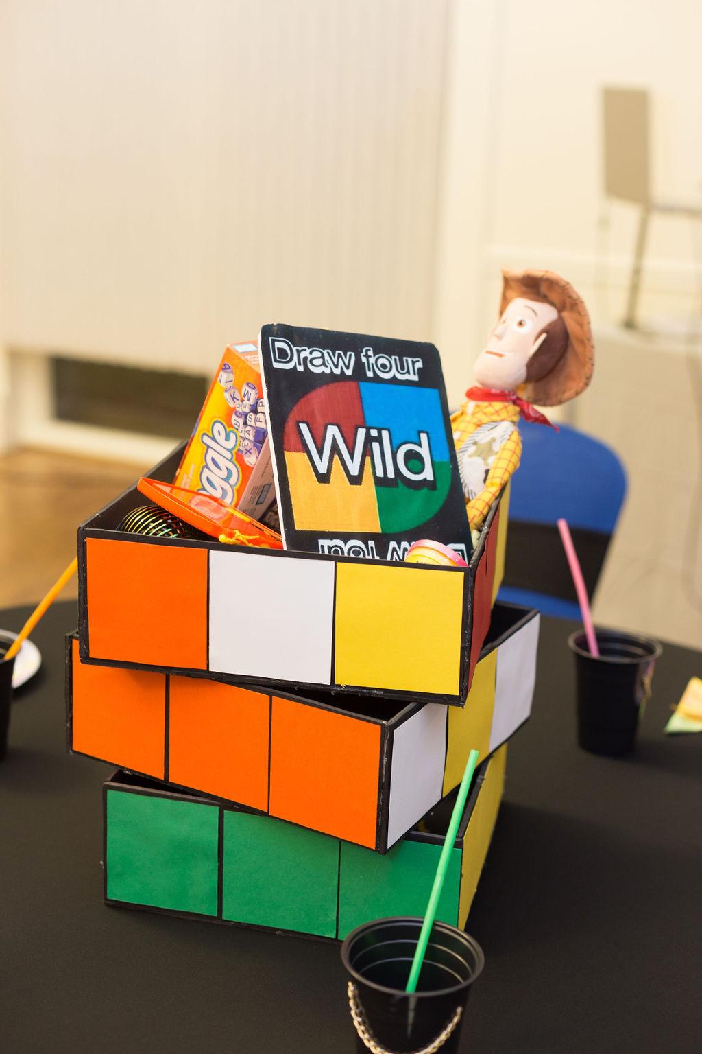 90s rubik cube table centerpiece
